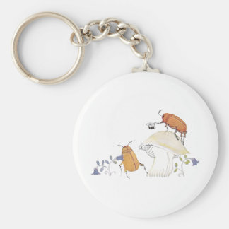 June Bugs, Mushroom and Blue Flowers Key Ring