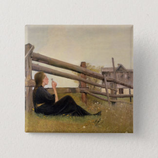 June. Girl Blowing Dandelion Seeds, 1899 15 Cm Square Badge