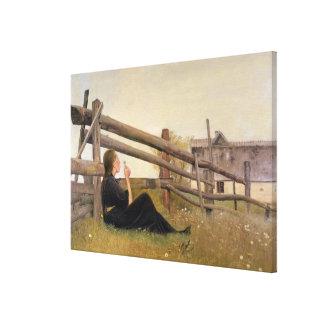 June. Girl Blowing Dandelion Seeds, 1899 Canvas Print