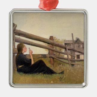 June. Girl Blowing Dandelion Seeds, 1899 Christmas Ornament
