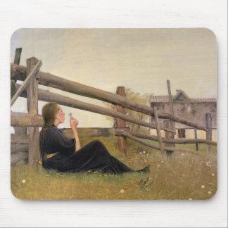 June. Girl Blowing Dandelion Seeds, 1899 Mouse Mat
