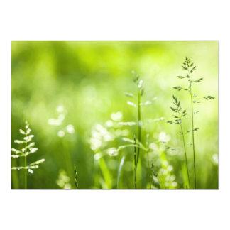 June green grass flowering 13 cm x 18 cm invitation card