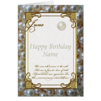 June Pearl Birthstone Birthday Card