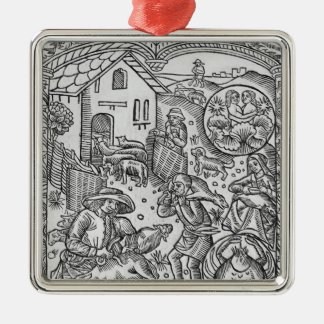 June, sheep shearing, Gemini Silver-Colored Square Decoration
