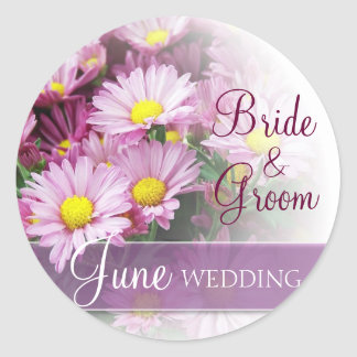 June Wedding - Lavender Daisies Round Sticker
