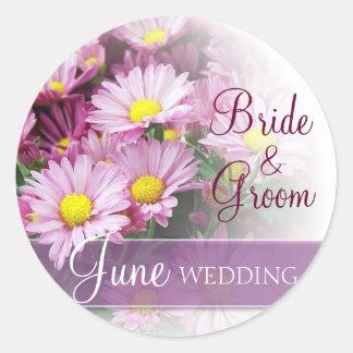 June Wedding - Lavender Daisies Round Sticker