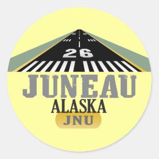Juneau Alaska - Airport Runway Round Sticker
