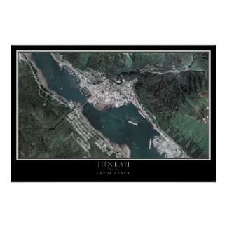Juneau Alaska From Space Satellite Map Poster