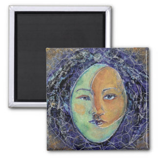 Jungian Style Sun Moon  Face Mandala Magnet