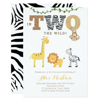 Jungle 2nd Birthday Invites, Monkey Giraffe Zebra Card
