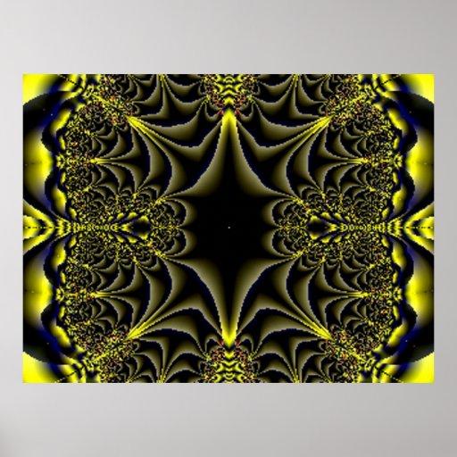 Jungle 5 Fractal Gold Blue Poster