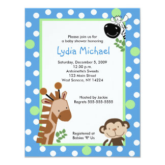 JUNGLE ADVENTURE BLUE 4x5 Baby Shower Invitations