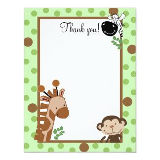 JUNGLE ADVENTURE (Green) 4x5 Flat Thank you note 11 Cm X 14 Cm Invitation Card