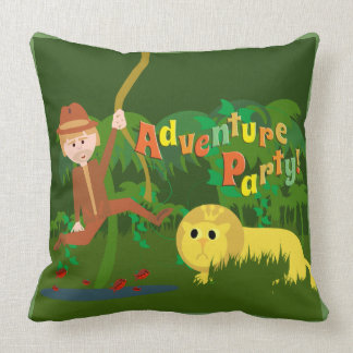 Jungle Adventure Party Time Throw Pillow