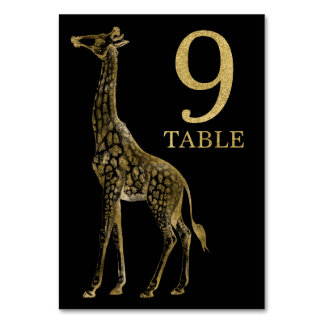 Jungle African Animal Giraffe Table Number Card 9