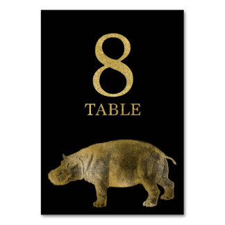 Jungle African Animal Hippo Table Number Card 8