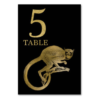 Jungle African Animal Monkey Table Number Card 5