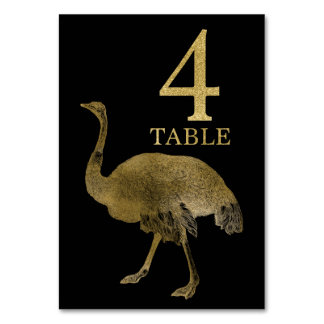 Jungle African Animal Ostrich Table Number Card 4