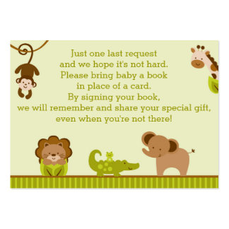 Jungle Animal Baby Shower Book Request Cards Pack Of Chubby Business Cards