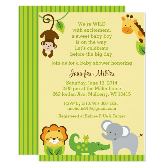 Jungle Animal Baby Shower Card