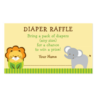 Jungle Animal Diaper Raffle Tickets Double-Sided Standard Business Cards (Pack Of 100)