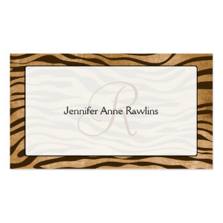Jungle Animal Print Monogram Initial Business Card Template