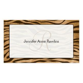 Jungle Animal Print Monogram Initial Business Card Template