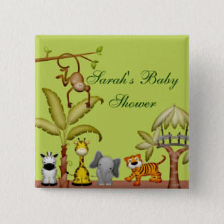 Jungle Animal Safari Celebration Baby Shower 15 Cm Square Badge