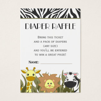 Jungle Animal Theme Diaper Raffle Ticket