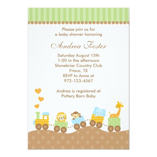 Jungle Animal Train Invitations
