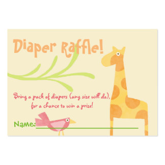 Jungle Animals Baby Shower Diaper Raffle Tickets Large Business Cards (Pack Of 100)