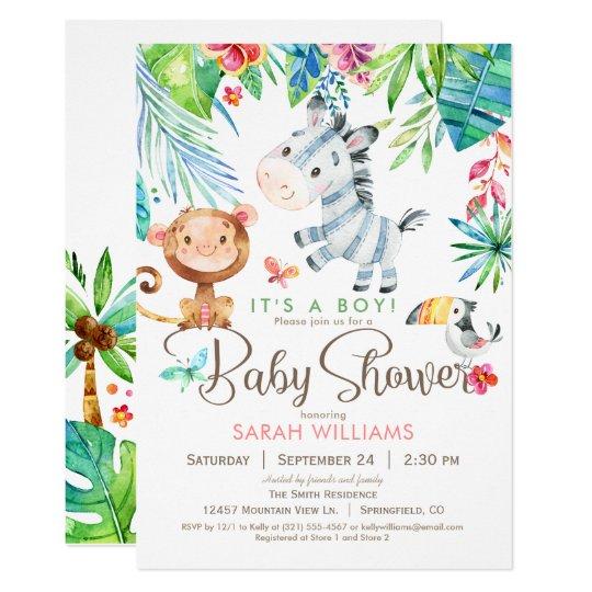 Jungle Animals Baby Shower Invitation, Boy or Girl