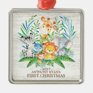 Jungle  Animals Baby's First Christmas Ornament