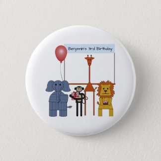 Jungle Animals Birthday Party Button - on white