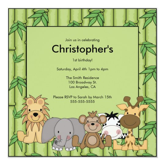 Jungle Animals Birthday Party Invitation