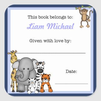 Jungle Animals Book Plate Blue Boy BOOKPLATE Square Sticker