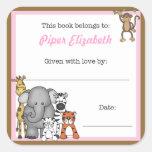 Jungle Animals Book Plate Pink Girl BOOKPLATE Square Sticker