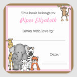 Jungle Animals Book Plate Pink Girl BOOKPLATE Square Stickers