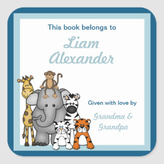 Jungle Animals Book Plates Blue Boy BOOKPLATE Square Sticker