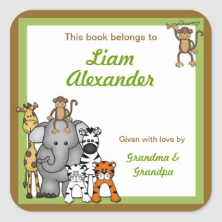 Jungle Animals Book Plates Green Boy BOOKPLATE Square Sticker