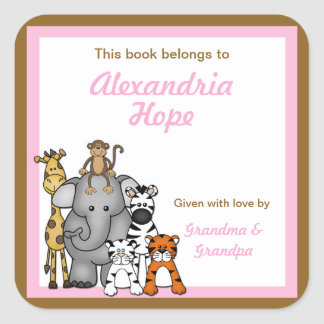 Jungle Animals Book Plates Pink Girl BOOKPLATE Square Sticker