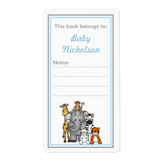 Jungle Animals bookplates blue grey baby shower Shipping Label