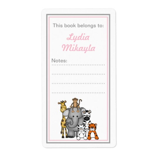 Jungle Animals bookplates pink grey baby shower Shipping Label