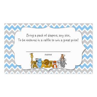 Jungle Animals Diaper Raffle Tickets boy Pack Of Standard Business Cards
