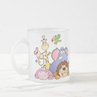 Jungle Animals Frosted Glass Mug