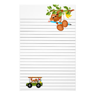 Jungle Animals Go to School Stationery Paper