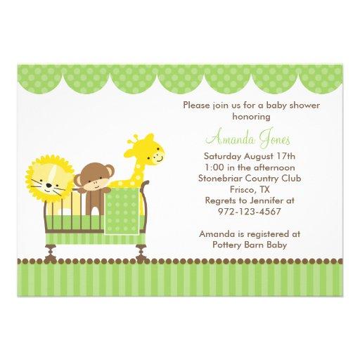 Jungle Animals in a Crib (Green) Invitations Personalized Announcements