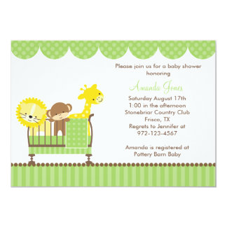 "Jungle Animals in a Crib (Green) Invitations 5"" X 7"" Invitation Card"