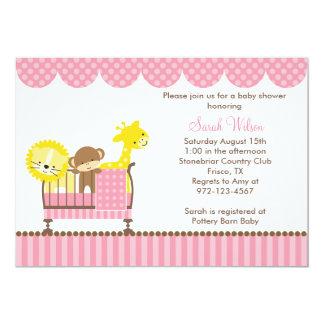 Jungle Animals in a Crib (Pink) Invitations