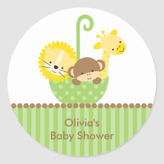 Jungle Animals in Green Umbrella Stickers
